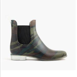 J. Crew Matte Chelsea Rain Boots in Olive Camo